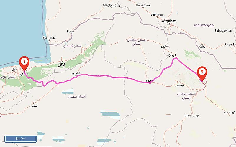 مسیر ساری به مشهد (یا بلعکس)