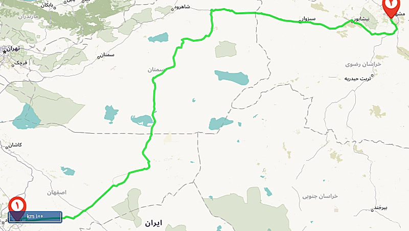 نقشه راه اصفهان مشهد
