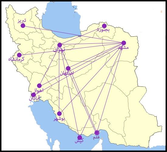 مسیرهای پروازی اترک ایر