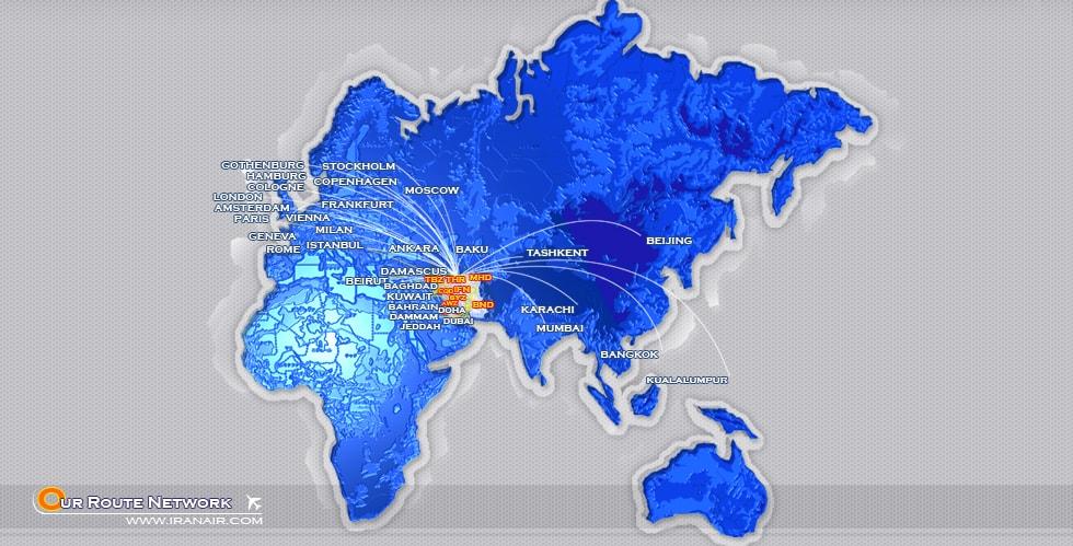 تصویر مسیرهای خارجی ایران ایر iranair