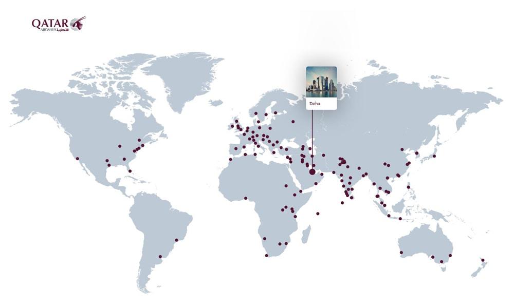 مقاصد پروازی قطر ایرویز